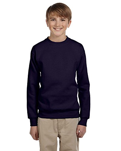 Youth 7.8 oz. ComfortBlend® EcoSmart® 50/50 Fleece Crew, Navy, Large Blue Youth Fleece Crewneck Sweatshirt