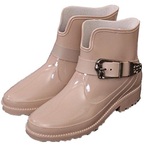 Antislip Dames Enkellaarsjes Hoge Rubberen Laarzen Regen Kaki Laarzen