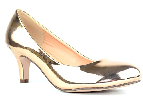 Chase & Chloe Kona-1 Low Heel Round Toe Womens Pump Shoes Rose Gold 52Cp4