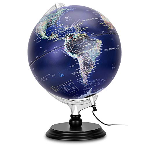 12 Inch Illuminated World Globe, Raised Relief Topographical Globe, Built-in LED Light for Night View, Magnifying Glass, Wood Stand for Learning Education Teaching Demo Home Office Desk Decoration
