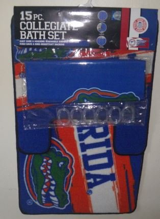 Florida Gators 15 Pc Collegiate Bathroom Set Mat Rug Shower Curtain Hooks