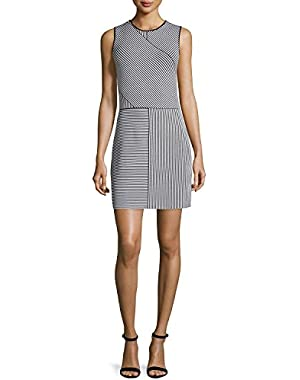 Theory Womens Irelia Striped Contrast Trim Casual Dress