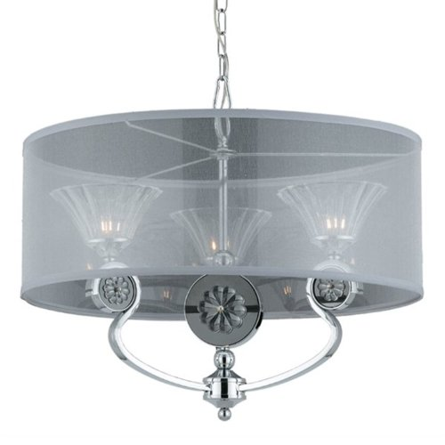 Triarch Crystal Pendant - Triarch International Lighting 39412 Medallion Collection 3-Light Pendant, Chrome Plated Finish with Crystal Glass Shades and Fabric Shade