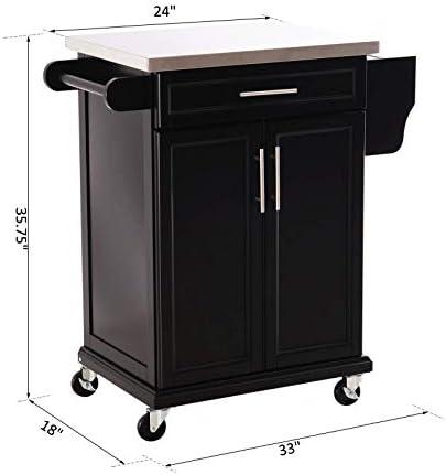 Black Modern Rolling Stainless Steel Top Kitchen Island Utility Cart 2 Tiers Cabinet 1 Drawer Slide Handle Spice Rack Knife Holder Pantry Silverware Utensils Kitchenware Dishware Storage Organizer