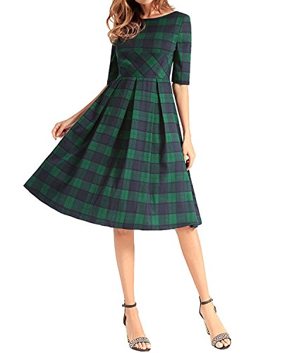 AELSON Women Half Sleeve A Line Dress Casual Plaid Midi Dress Green ()