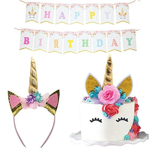 Unicorn Party Supplies Set - Unicorn Cake Topper with Eyelashes and Flowers, Unicorn Headband, and Unicorn Birthday Banner | Unicorn Birthday Party Supplies for Girls, Baby Shower, Decorations