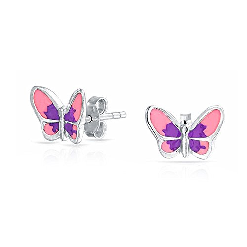 Bling Jewelry Purple Enamel Butterfly Kids Stud earrings 925 Sterling Silver 7mm Children Pierced Earrings