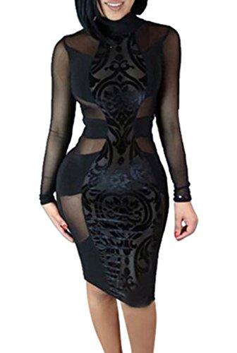 (XARAZA Women's Sexy Mesh See Through Bodycon Clubwear Dress (US 8-10, Black))