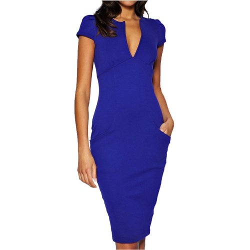 Fancy That Clothing Women's Short Sleeve Pencil V- Neck Dress