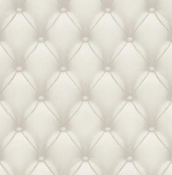 Papier Peint Imitation Cuir Effet Rembourré En Vinyle Lavable Aspect  Semi Brillant Taupe Design Moderne