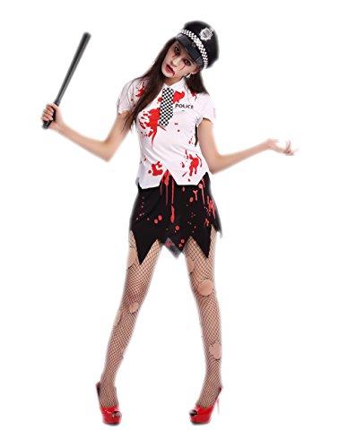Zombie Police Costume Womens (Police Halloween Costume - Sexy Halloween Bloody Women Zombie Police Costume)