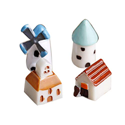 Elevin(TM)  4 Pcs Mini Resin Castle Church Windmill Barn Cabin House Mini Craft]()