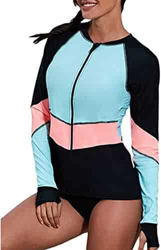 d437cf9bad tengweng Women Fashion Vintage Print One Piece Surfing Swimsuits Zip Up  Long Sleeve Rash Guard Swimwear