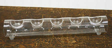 Elegant and Classic Round Glass Tube with Space for 5 Tealight Candles a Beautiful Display Holder - Tube Can Be Filled on the Inside (Long Glass Candle Holder)