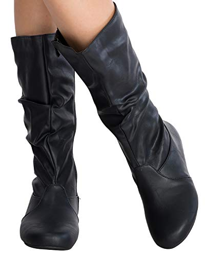 Top Moda Women's Round Toe Slouchy Boot with Buckle Premium New Black Pu