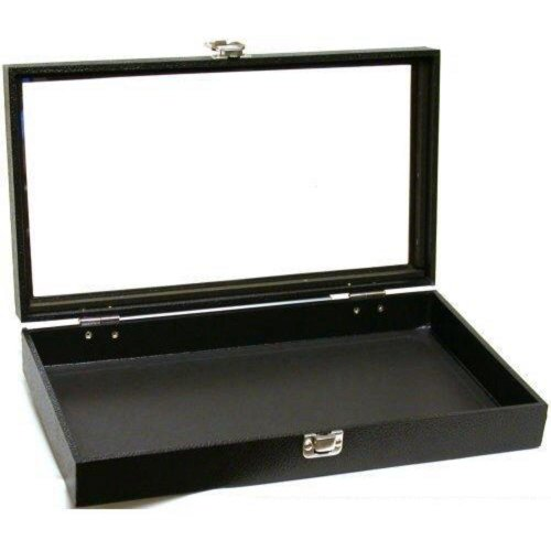 "Black Jewelry Travel Showcase Display Glass Lid Case 14 3/4""W x 8 1/4""D x 2 1/8""H"