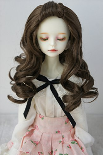 JD433 7-8inch 18-20CM adorable long wave doll wigs 1/4 MSD Synthetic mohair BJD doll accessories (Medium brown)