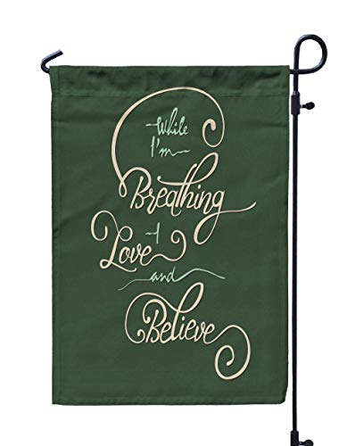 (ROOLAYS Outdoor Seasonal Garden Flags Stands While Am Breathing Love Believe Guitar Your Unique Pen Can Be Used Print Bags Posters Cards Web Double Sided Colorful Holiday Yard Flag 12X18 inches)