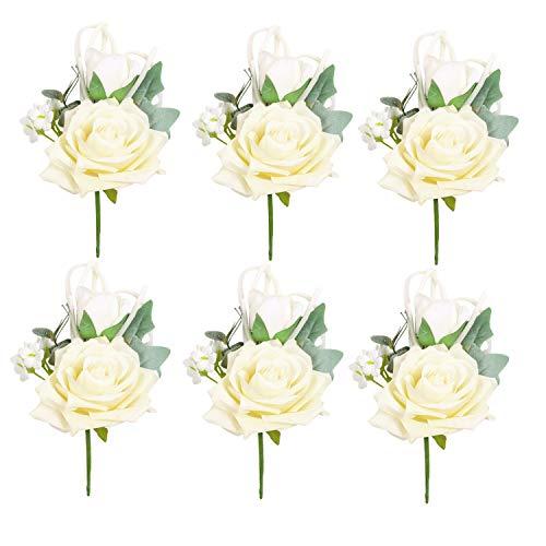 - Pauwer Boutonniere Set of 6 Groom Flower Buttonholes Boutonniere for Men Groomsmen Wedding Prom Suit Decoration (C Boutonniere Set of 6)