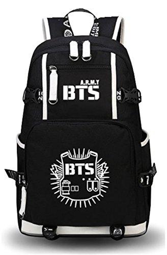 Price comparison product image JUSTGOGO Luminous Korean Casual Daypack Laptop Bag College Bag Book Bag School Bag Backpack (Black 1)