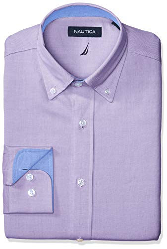 Nautica Men's Classic Fit Button Down Collar Oxford Dress Shirt, Purple, 17 34/35