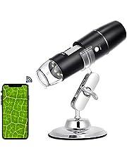 Microscopio Digital USB, 3,0 MP WiFi Endoscopio Portátil 50X-1000X con 8 LED Endoscopios HD, Soporte Metálico, Compatible con Android y Teléfonos Inteligentes o Tabletas IOS
