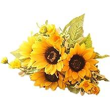 Meiliy 1 Bouquet Artificial Silk Sunflower 7-stems Flowers For Home Decoration Wedding Decor, Bride Holding Flowers Floral Decors