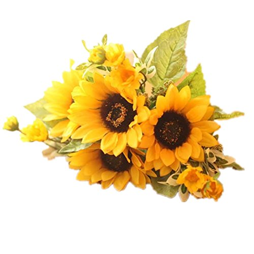 Meiliy 1 Bouquet Artificial Silk Sunflower 7-stems Flowers For Home Decoration Wedding Decor, Bride Holding Flowers Floral Decors