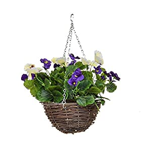 MARJON FlowersArtificial Pansy Hanging Basket Purple White 90