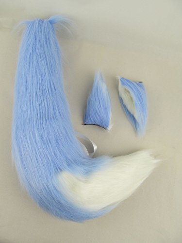 Happylifehere Furry Fox Ears Fox Tail Unisex Adult Fancy Dress Cosplay Costume Halloween Party (25'' tail, Light Blue with -