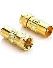 deleyCON SAT Antenne-Adapterkabel Naar SAT-Adapter SET F-Connector Naar IEC-Stekker Koppeling Verbinder Coaxadapter SAT Kabel Verguld - 2 Stuks