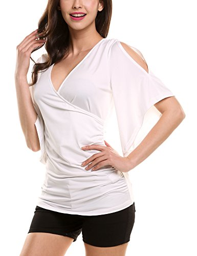 Meaneor Crossing Shoulder Pleated T Shirt