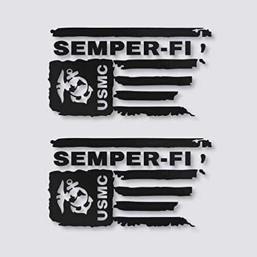 Distressed USMC United States Marine Corps Flag SEMPER-FI Vinyl Decal Veteran Sticker Car Truck Bumper Window Laptop Army US (Black) ()