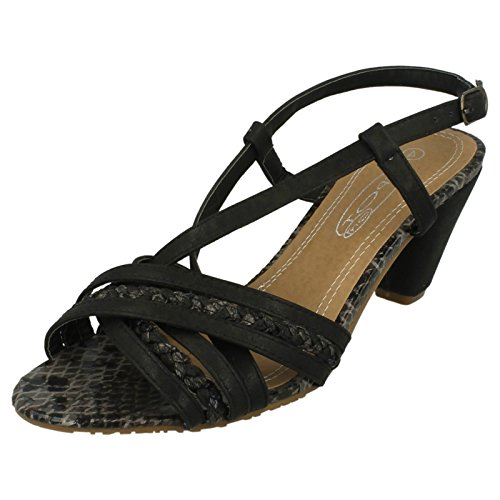 Spot On Heeled Strappy Sandal Black Ia3joWzs