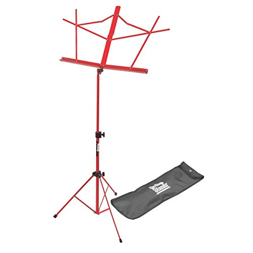 Sheet Music Display - On-Stage SM7122RB Compact Folding Sheet Music Stand with Bag, Red