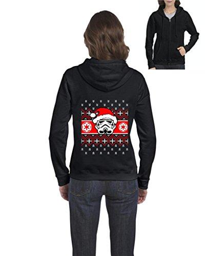Blue Tees Christmas Storm Trooper Santa Ugly Full-Zip Women Hoodie Large Black (Storm Trooper Sexy)