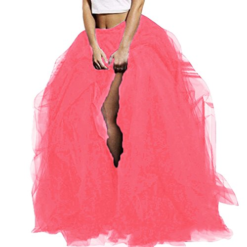 WDPL Women's Long Tutu Floor Length Skirt Maxi Special Occasion Night Out Ruffles Tulle Skirt (X-Small, Watermelon Red)