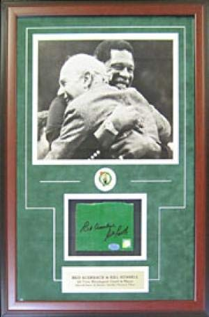 Bill Russell Signed Picture - & Red Auerbach Framed Garden Floor Piece w Unsigned 11x14 - Autographed NBA Photos