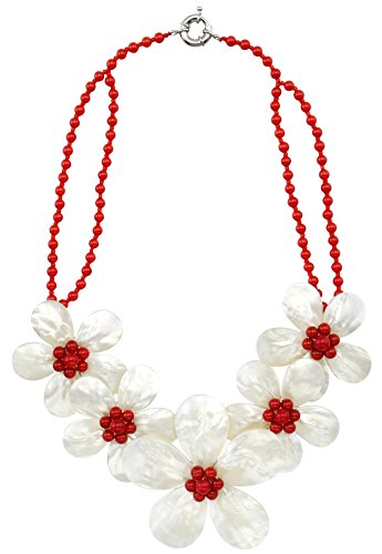MagicYiMu Flower Statement Bib Bead Strand Shell Necklace with Red Coral Jewelry for Women 18'' (Jewelry Red Shell)