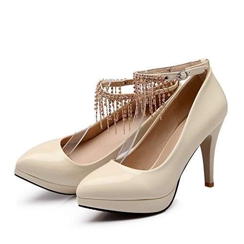 BalaMasa Ladies Bead Buckle High-Heels Solid Round-Toe Patent Leather Pumps-Shoes Beige 3iwdCg
