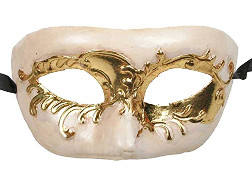 (Medici Eye Mardi Gras Mask Gold & Ivory Antique MUSIC Halloween)
