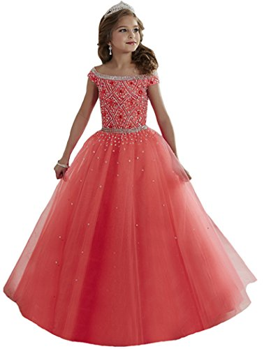 Nube Hot Sell Handmade Princess Sequins Ball Gown Gril Dresses For Wedding Show Party (10, Picture 7)