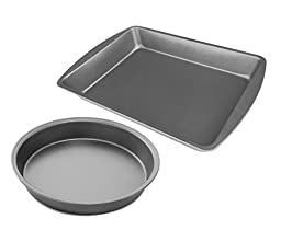 Norske Line Classic All-Purpose Non-Stick Carbon Steel 2-piece Baking Pan Set, 9-inch Round Premium Cake Pan and 9-inch x 13-inch Rectangular Baking Sheet for Brownies, Bars, Pizzas, Lasagna, and More