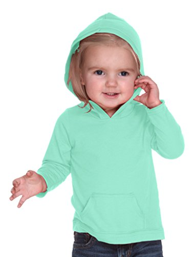 Kavio! Infants Jersey RawEdge High Low Long Sleeve Hoodie w.Pouch Ice Green 18M