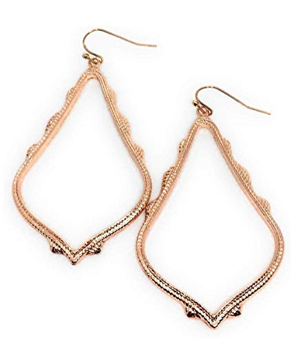 Inspired Fashion Jewelry Open Filigree Earrings in Rose Gold Metal Tone in 3 Sizes (Medium)