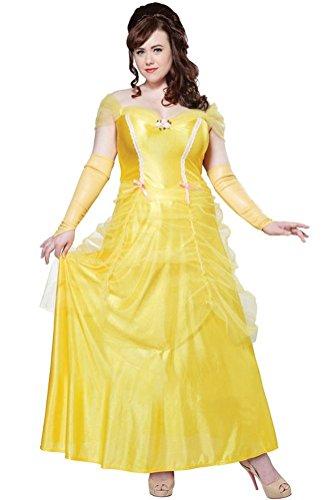 [POPLife Classic Beauty and the Beast Princess Belle Women Costume Plus Size] (Mens Beast Halloween Costume)