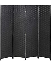 Roll Over Image to Zoom in FDW Room Divider Wood Screen 4 Panel Wood Mesh Woven Design Room Screen Divider Folding Portable Partition Screen Screen Wood for Home Office (Black)