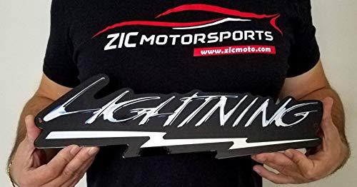 - ZIC Motorsports Ford F-150 SVT Lightning Emblem Badge Heavy Duty Metal Garage Wall Sign - 16