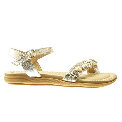 Angkorly - Zapatillas de Moda Sandalias Chanclas mujer joyas strass Talón tacón plano 2 CM - Oro