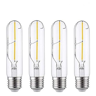 Vintage Edison LED Bulb, KINGSO 2W Antique LED Bulb (60W Incandescent Bulb Equivalent), 2700K Warm White (Clear Glass), COB Tubular Filament Bulb, T10, E26 Medium Base, Pack of 4
